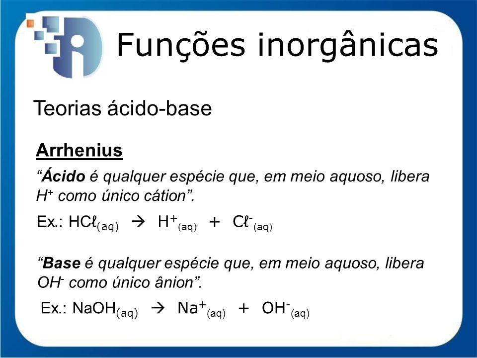 Funções inorgânicas Função Base (Arrhenius) Nomenclatura I) Para bases únicas de um cátion HIDRÓXIDO de NOME DO CÁTION Ex.:NaOH hidróxido de sódio Ca(OH) 2 hidróxido de cálcio NH 4 OH hidróxido de amônio