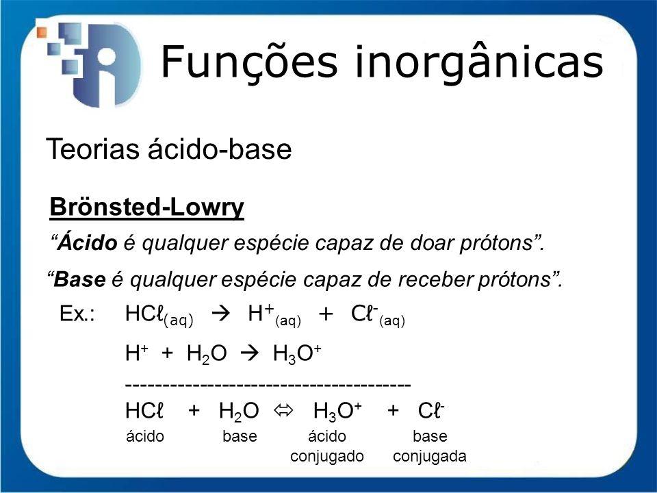 Funções inorgânicas Função Base (Arrhenius) Nomenclatura II) Para bases diferentes de um mesmo metal HIDRÓXIDO de NOME DO METAL (NOx em romanos) ou HIDRÓXIDO + NOME DO METAL + OSO para menor NOx ICO para maior NOx Ex.:CuOH hidróxido de cobre I ou hidróxido cuproso Cu(OH) 2 hidróxido de cobre II ou hidróxido cúprico