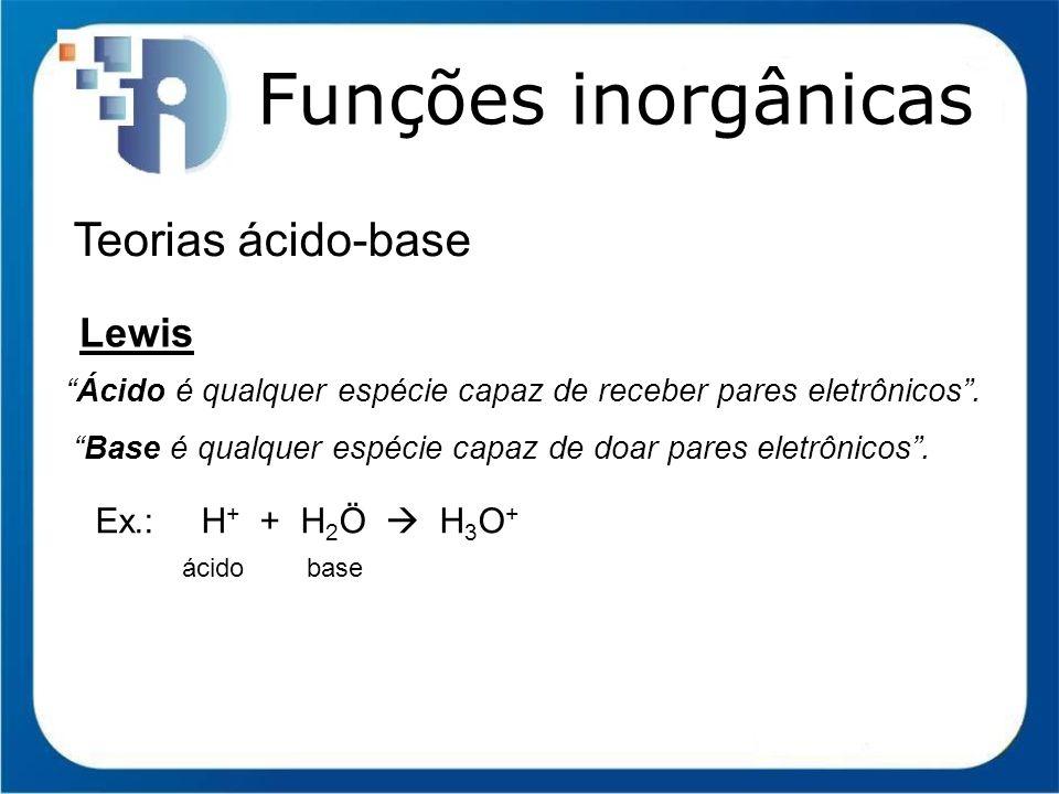 Funções inorgânicas Função Ácido (Arrhenius) Nomenclatura Hidrácidos: terminação ÍDRICO Oxiácidos: terminação OSO (NOx<5) ou ICO Exceto H 2 CO 3 (ácido carbônico); NOx 1 ou 2 prefixo hipo.
