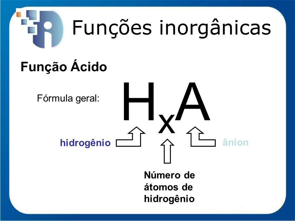 Funções inorgânicas Função Ácido (Arrhenius) H 2 SO 4 ácido sulfúrico HC ácido clorídrico muriático HNO 3 ácido nítrico H 3 PO 4 ácido fosfórico