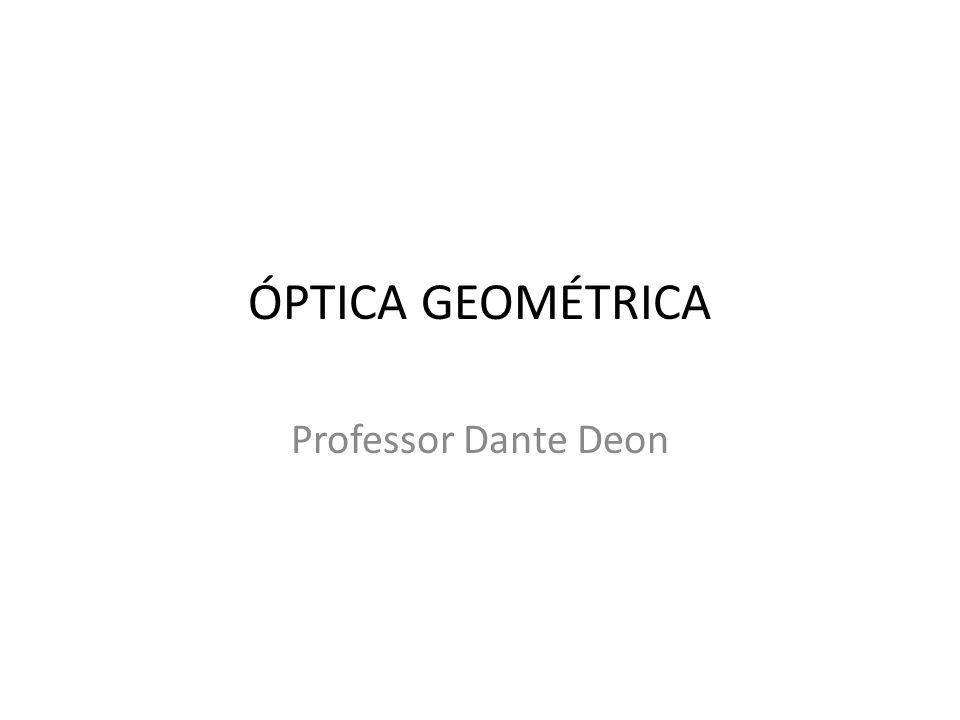 Introdução a Óptica Geométrica A Óptica Geométrica é desenvolvida a partir da noção de raio de luz, dos princípios fundamentais que regem o comportamento dos raios de luz e de construções geométricas das imagens.