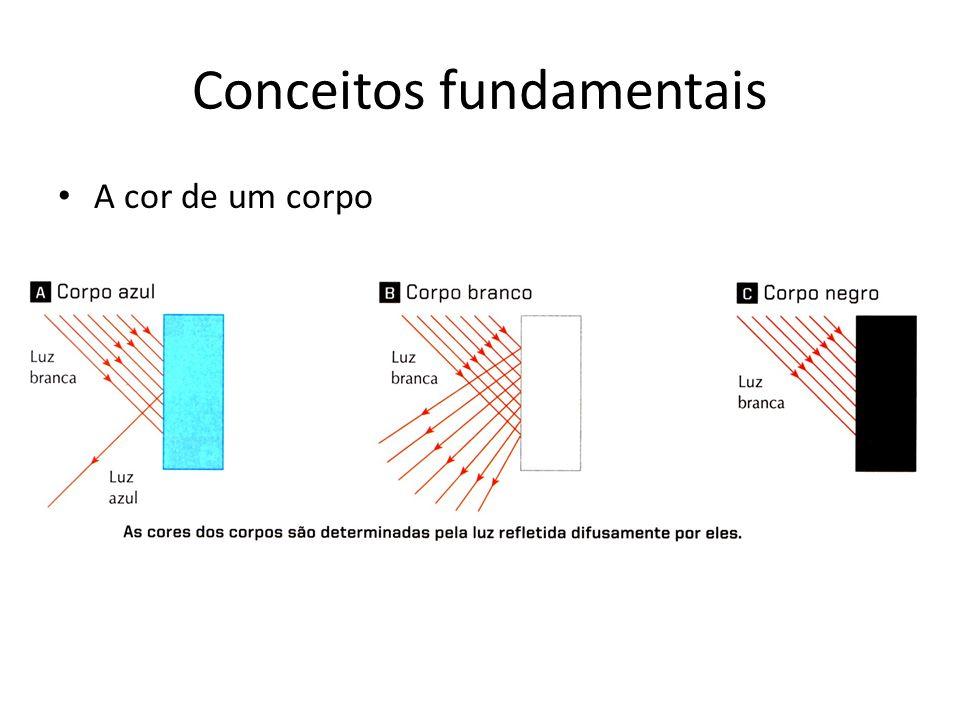 Conceitos fundamentais Exemplo: Num recinto à prova de luz externa, iluminado por uma fonte luminosa vermelha, está um indivíduo de visão normal.