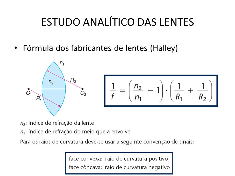 ESTUDO ANALÍTICO DAS LENTES Fórmula dos fabricantes de lentes (Halley)