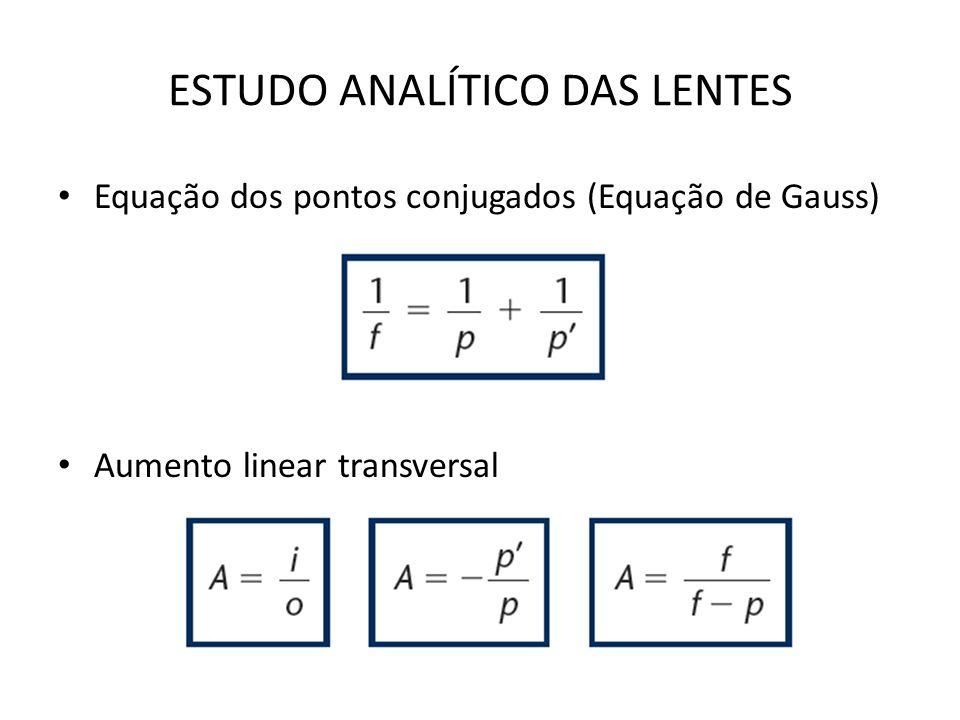 ESTUDO ANALÍTICO DAS LENTES Equação dos pontos conjugados (Equação de Gauss) Aumento linear transversal
