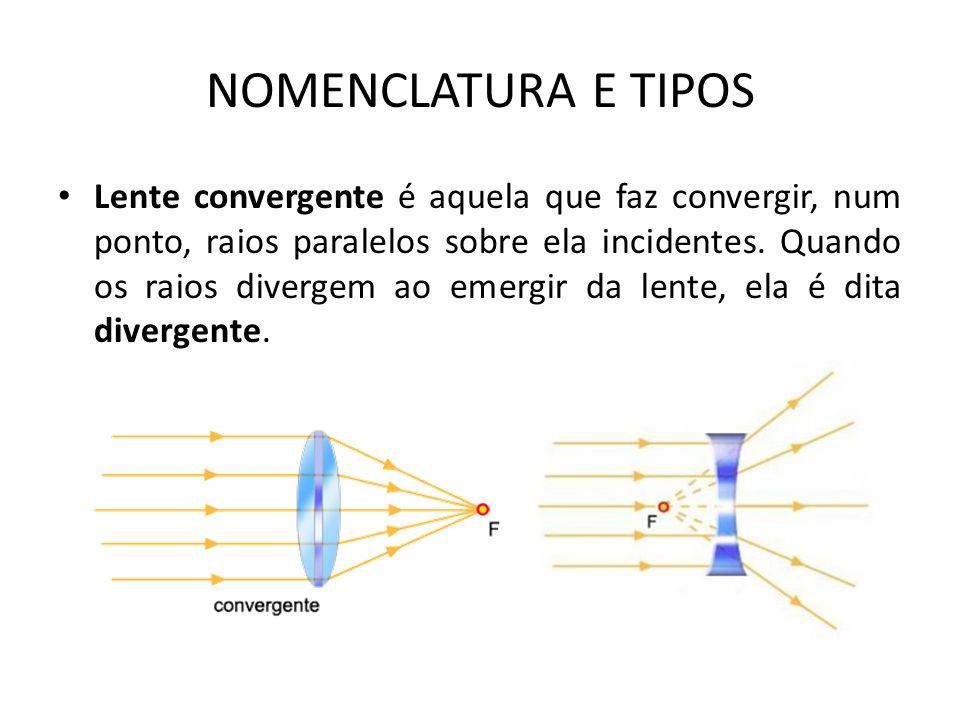 Lente convergente é aquela que faz convergir, num ponto, raios paralelos sobre ela incidentes.