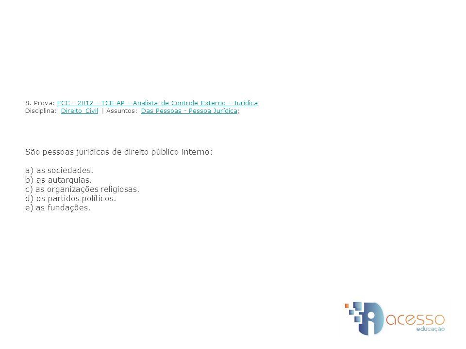 8. Prova: FCC - 2012 - TCE-AP - Analista de Controle Externo - Jurídica Disciplina: Direito Civil | Assuntos: Das Pessoas - Pessoa Jurídica; São pesso