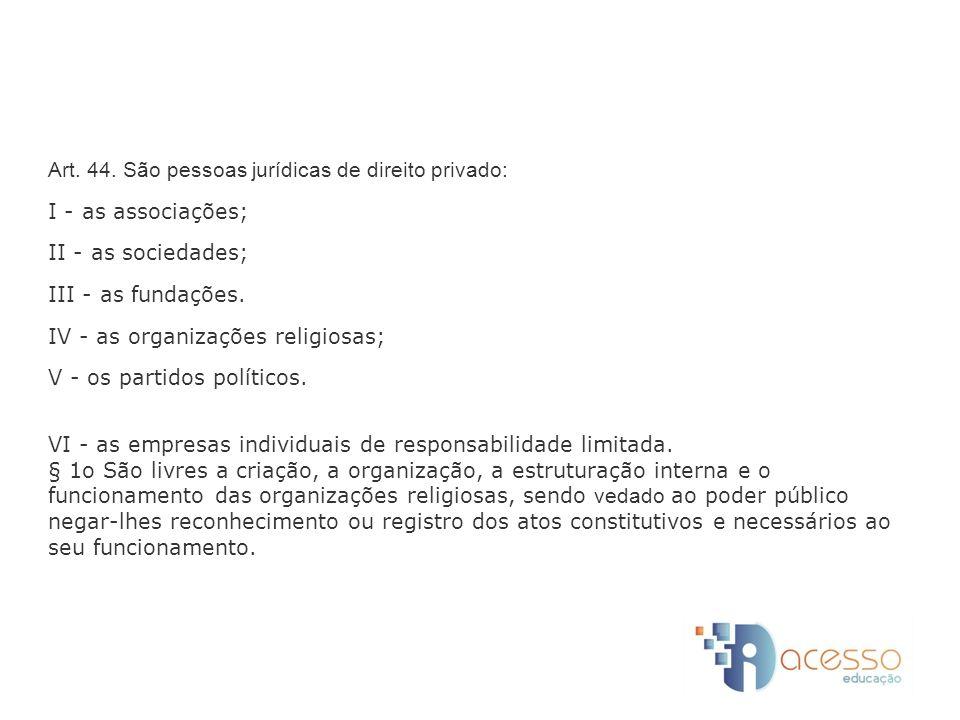 Art. 44. São pessoas jurídicas de direito privado: I - as associações; II - as sociedades; III - as fundações. IV - as organizações religiosas; V - os