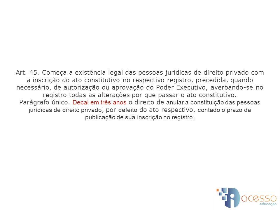 Art. 45. Começa a existência legal das pessoas jurídicas de direito privado com a inscrição do ato constitutivo no respectivo registro, precedida, qua
