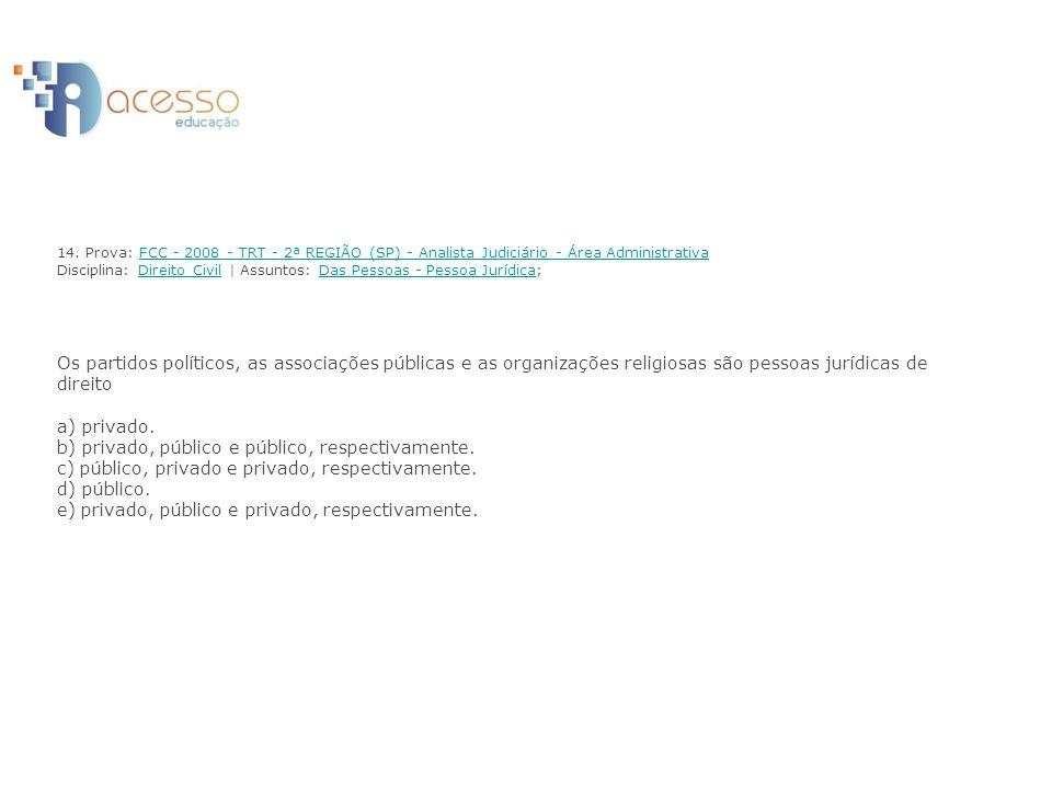 14. Prova: FCC - 2008 - TRT - 2ª REGIÃO (SP) - Analista Judiciário - Área Administrativa Disciplina: Direito Civil | Assuntos: Das Pessoas - Pessoa Ju