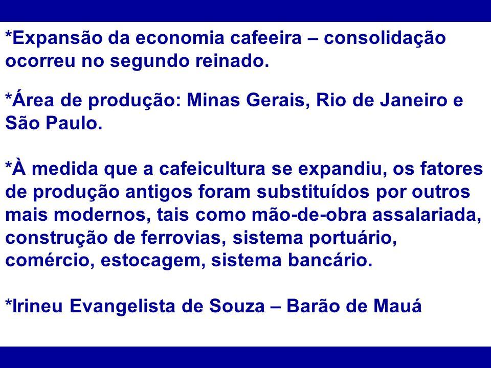 *Expansão da economia cafeeira – consolidação ocorreu no segundo reinado. *Área de produção: Minas Gerais, Rio de Janeiro e São Paulo. *À medida que a
