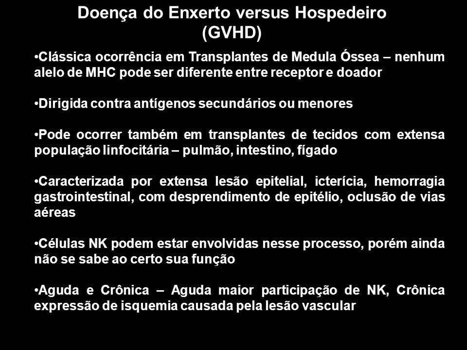 Doença do Enxerto versus Hospedeiro (GVHD) Figura 10-1 Clássica ocorrência em Transplantes de Medula Óssea – nenhum alelo de MHC pode ser diferente en
