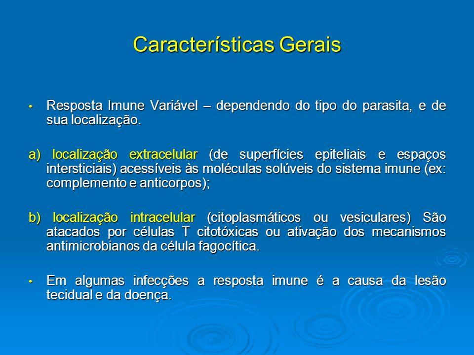 Características Gerais Resposta Imune Variável – dependendo do tipo do parasita, e de sua localização. Resposta Imune Variável – dependendo do tipo do