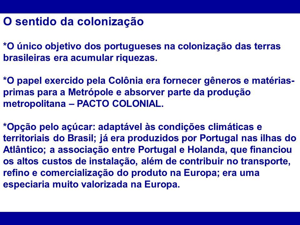 O sentido da colonização *O único objetivo dos portugueses na colonização das terras brasileiras era acumular riquezas. *O papel exercido pela Colônia