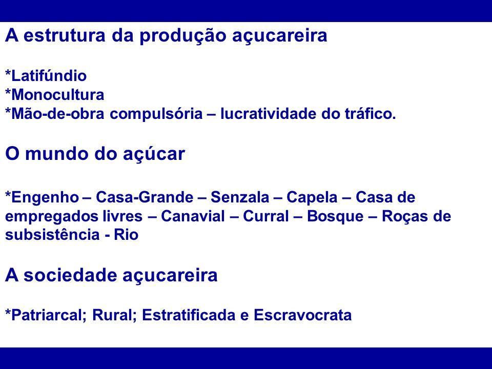A estrutura da produção açucareira *Latifúndio *Monocultura *Mão-de-obra compulsória – lucratividade do tráfico. O mundo do açúcar *Engenho – Casa-Gra