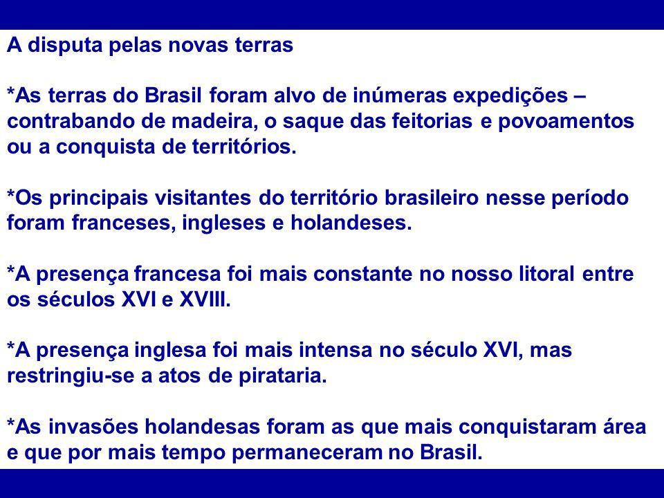 A disputa pelas novas terras *As terras do Brasil foram alvo de inúmeras expedições – contrabando de madeira, o saque das feitorias e povoamentos ou a