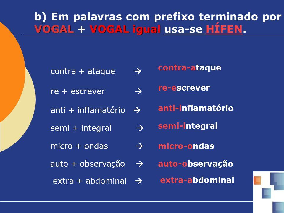 VOGAL VOGAL igual b) Em palavras com prefixo terminado por VOGAL + VOGAL igual usa-se HÍFEN. re + escrever re-escrever contra + ataque contra-ataque m