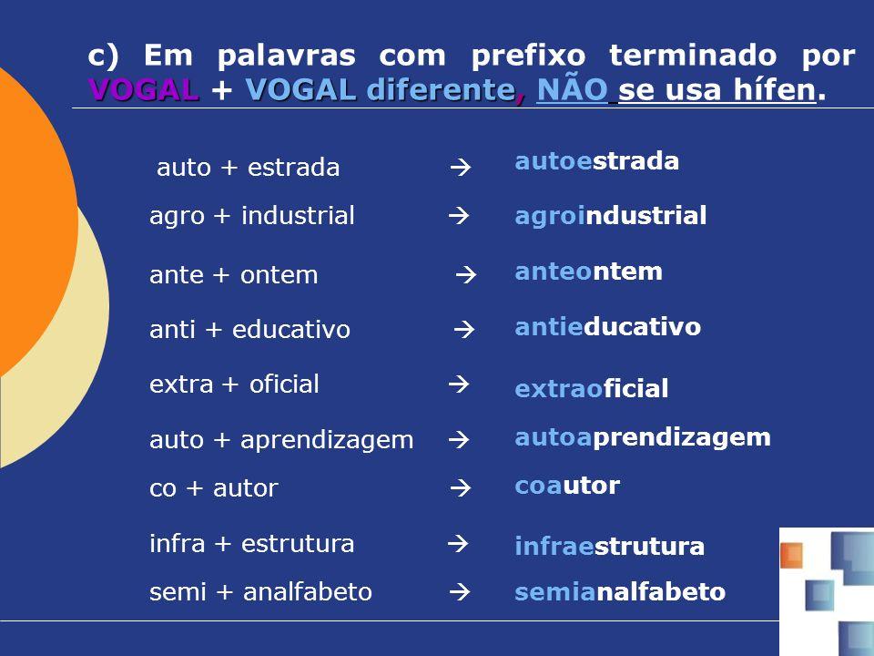 VOGAL VOGAL diferente, c) Em palavras com prefixo terminado por VOGAL + VOGAL diferente, NÃO se usa hífen. agro + industrial agroindustrial auto + est