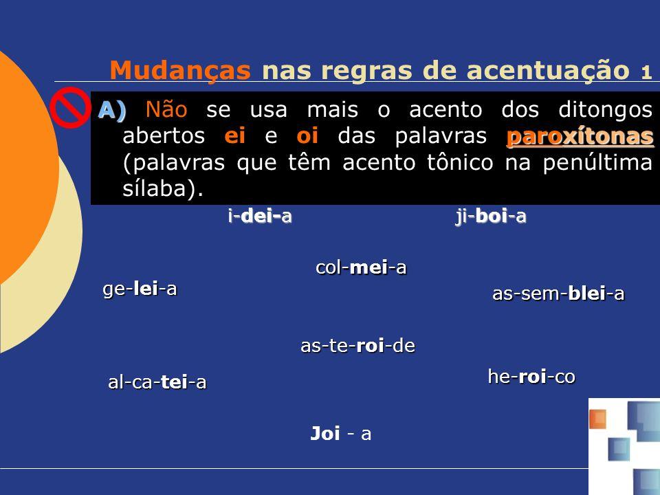 Mudanças nas regras de acentuação 1 A) paroxítonas A) Não se usa mais o acento dos ditongos abertos ei e oi das palavras paroxítonas (palavras que têm