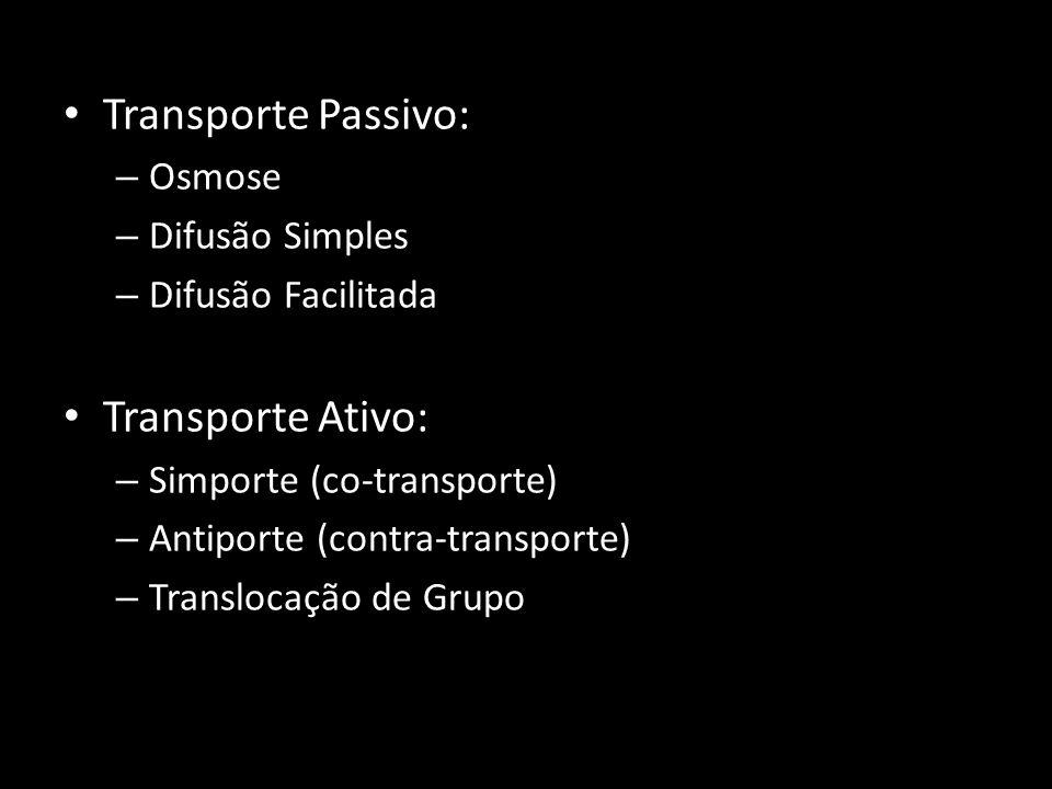 Transporte Passivo: – Osmose – Difusão Simples – Difusão Facilitada Transporte Ativo: – Simporte (co-transporte) – Antiporte (contra-transporte) – Tra