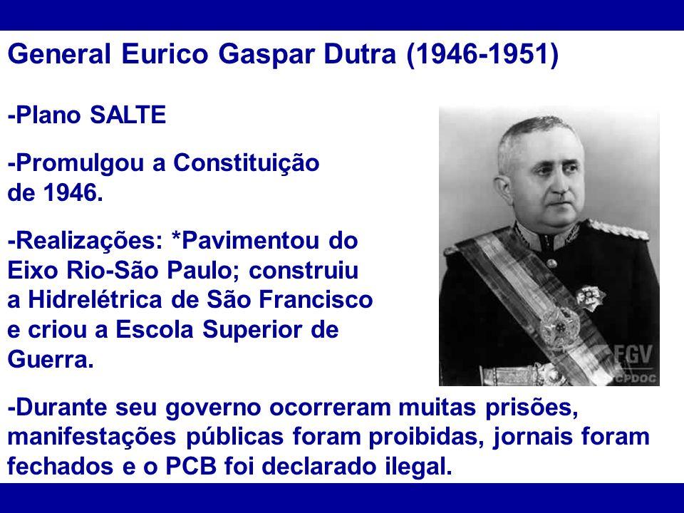 General Eurico Gaspar Dutra (1946-1951) -Plano SALTE -Promulgou a Constituição de 1946. -Realizações: *Pavimentou do Eixo Rio-São Paulo; construiu a H