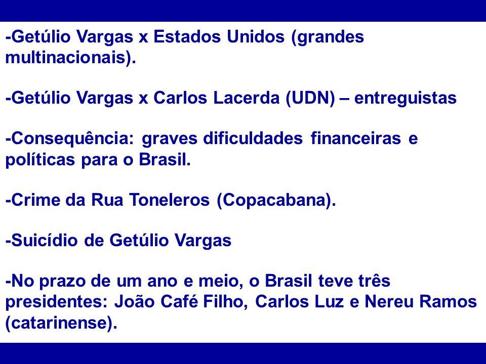 -Getúlio Vargas x Estados Unidos (grandes multinacionais). -Getúlio Vargas x Carlos Lacerda (UDN) – entreguistas -Consequência: graves dificuldades fi