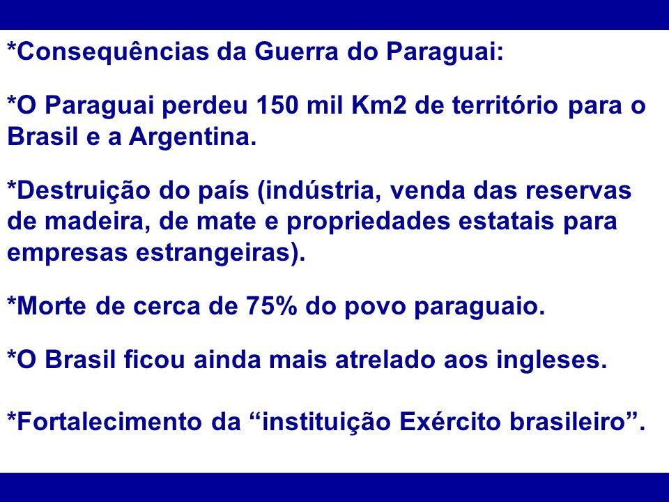 *Consequências da Guerra do Paraguai: *O Paraguai perdeu 150 mil Km2 de território para o Brasil e a Argentina. *Destruição do país (indústria, venda