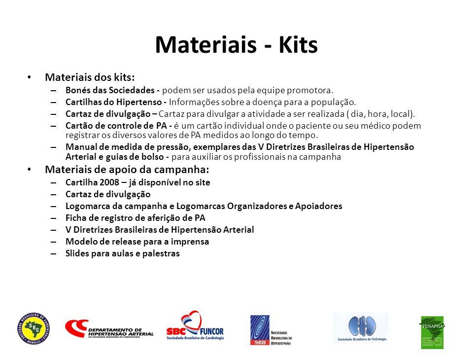 Materiais - Kits Materiais dos kits: – Bonés das Sociedades - podem ser usados pela equipe promotora. – Cartilhas do Hipertenso - Informações sobre a