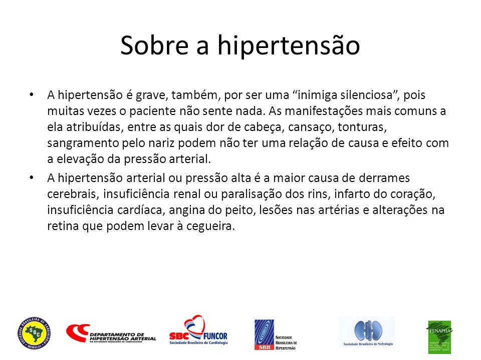 Sobre a hipertensão A hipertensão é grave, também, por ser uma inimiga silenciosa, pois muitas vezes o paciente não sente nada. As manifestações mais