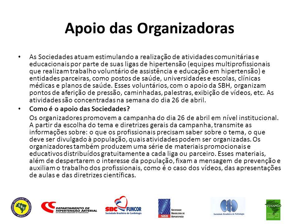 Apoio das Organizadoras As Sociedades atuam estimulando a realização de atividades comunitárias e educacionais por parte de suas ligas de hipertensão