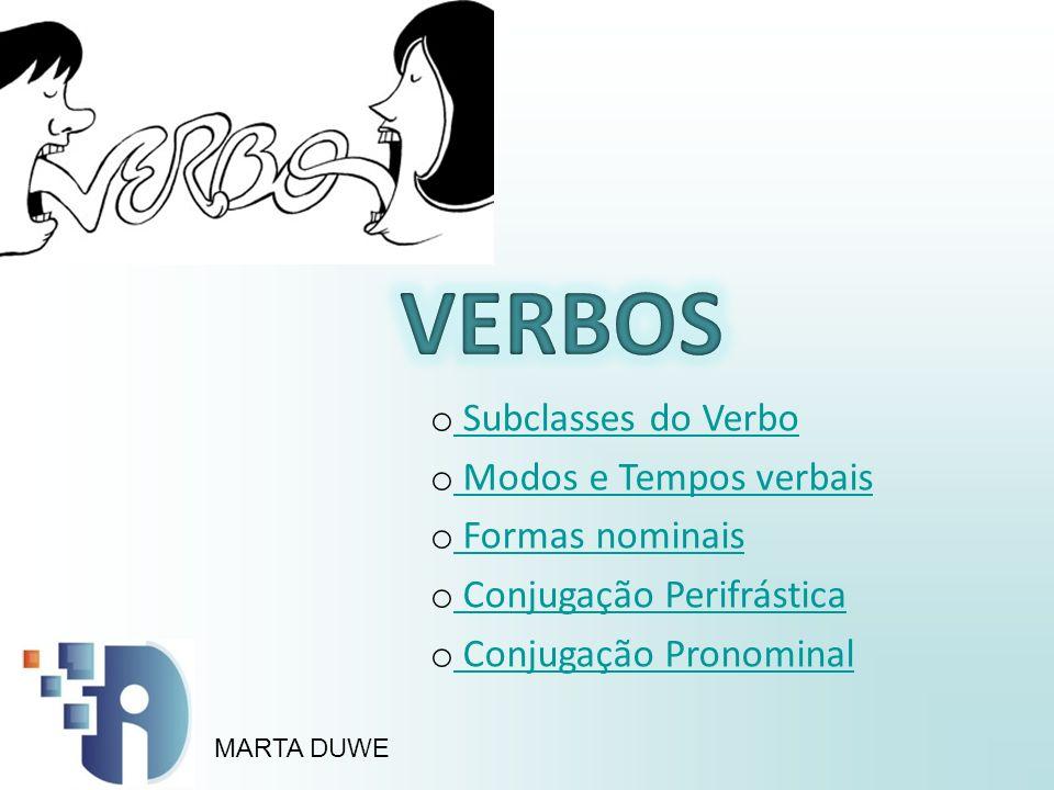 o Subclasses do Verbo Subclasses do Verbo o Modos e Tempos verbais Modos e Tempos verbais o Formas nominais Formas nominais o Conjugação Perifrástica