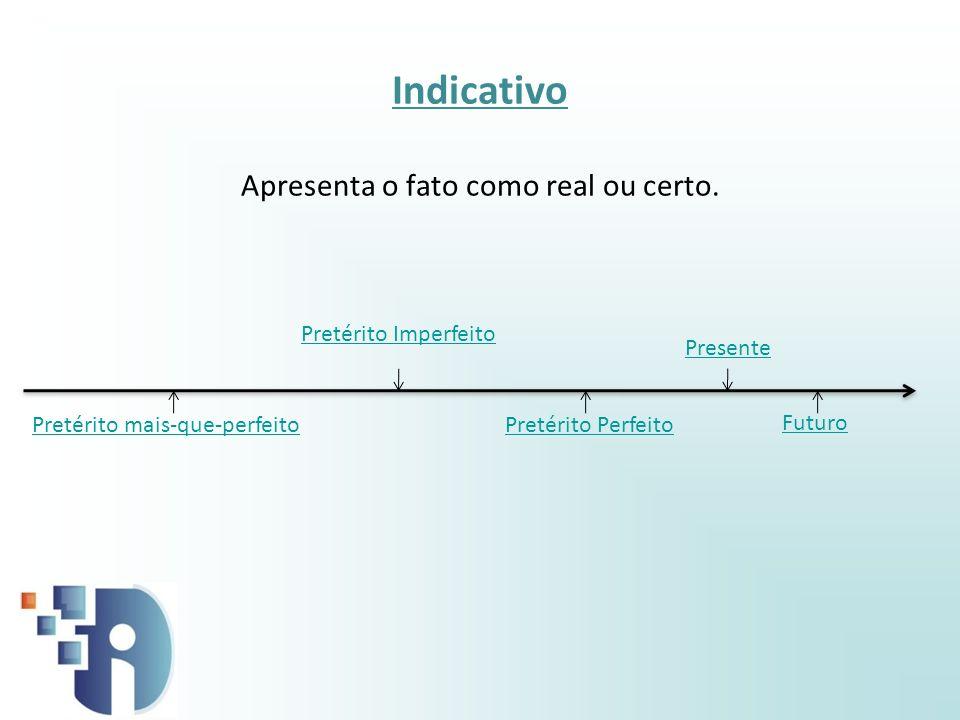 Presente Indicativo Apresenta o fato como real ou certo. Pretérito PerfeitoPretérito mais-que-perfeito Futuro Pretérito Imperfeito