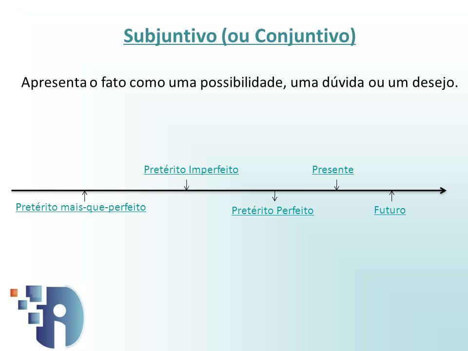 Presente Pretérito Perfeito Pretérito mais-que-perfeito Futuro Subjuntivo (ou Conjuntivo) Apresenta o fato como uma possibilidade, uma dúvida ou um de