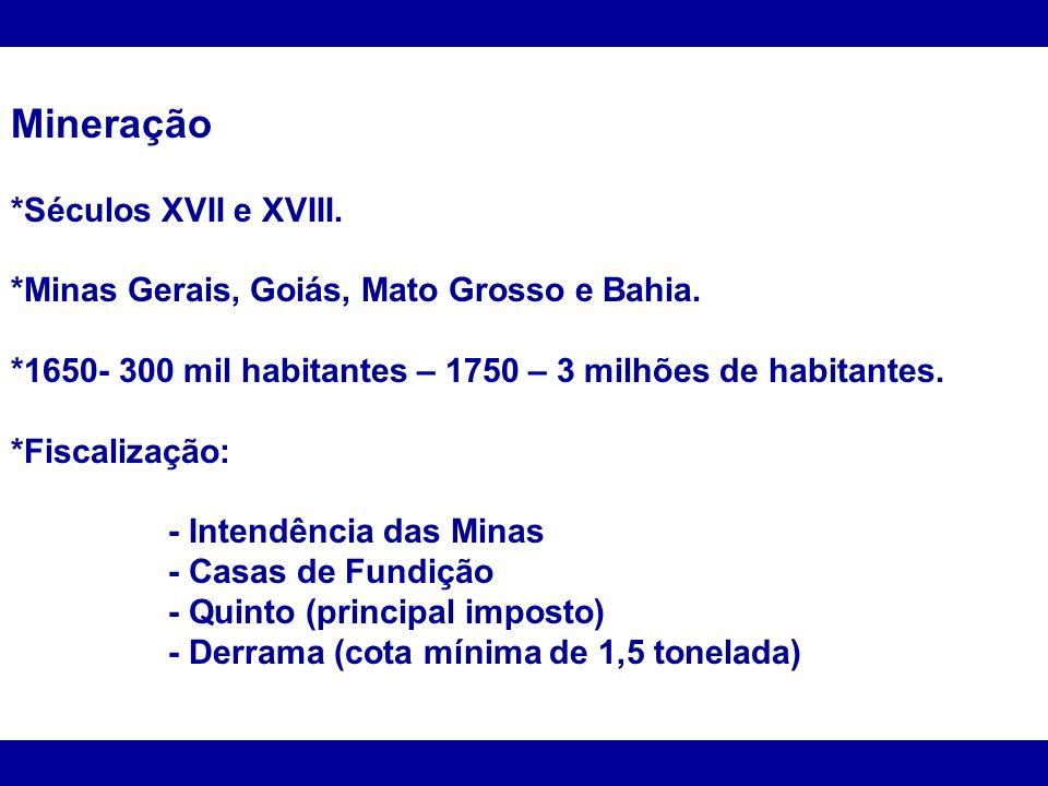 Mineração *Séculos XVII e XVIII. *Minas Gerais, Goiás, Mato Grosso e Bahia. *1650- 300 mil habitantes – 1750 – 3 milhões de habitantes. *Fiscalização: