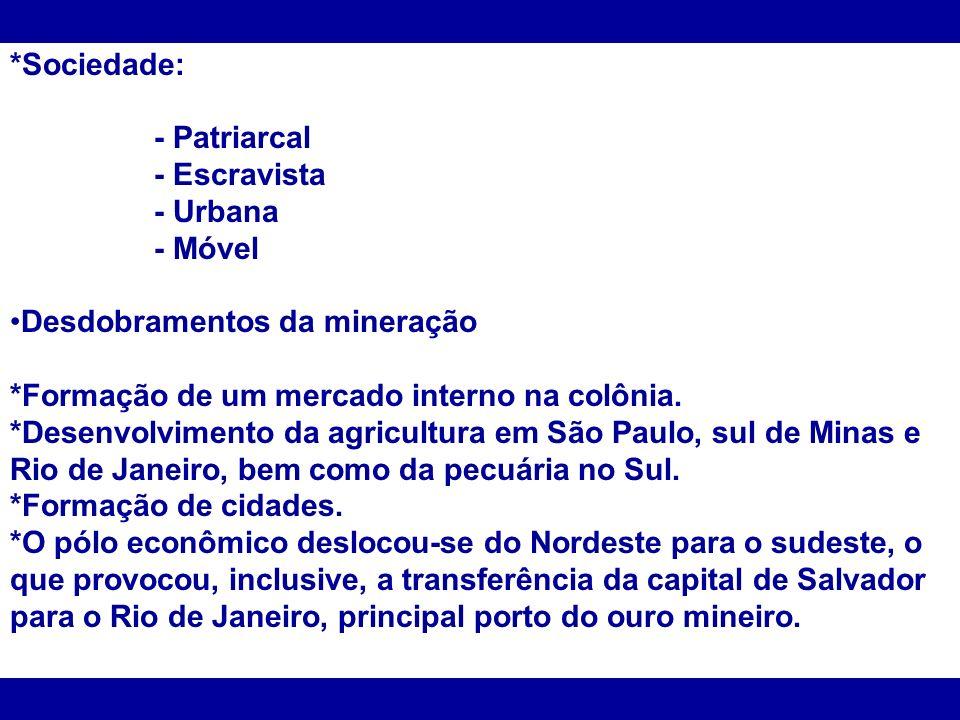 *Sociedade: - Patriarcal - Escravista - Urbana - Móvel Desdobramentos da mineração *Formação de um mercado interno na colônia. *Desenvolvimento da agr