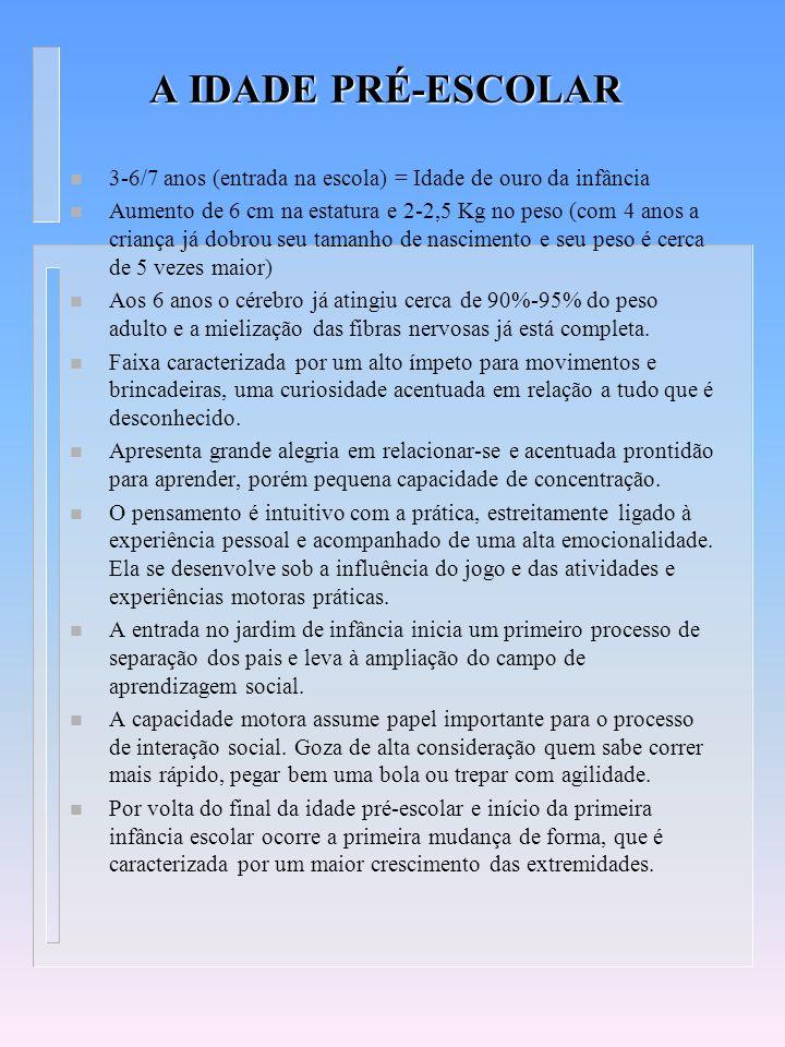 PRIMEIRA INFÂNCIA ESCOLAR n Início da escola (6/7 anos) e 10 anos.