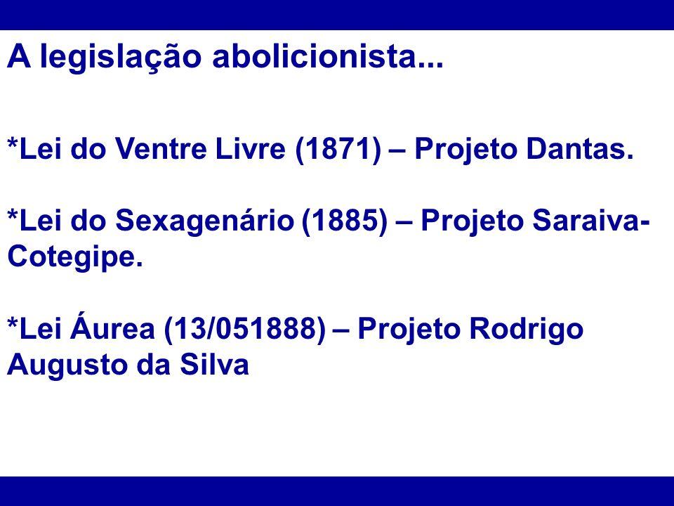 A legislação abolicionista... *Lei do Ventre Livre (1871) – Projeto Dantas. *Lei do Sexagenário (1885) – Projeto Saraiva- Cotegipe. *Lei Áurea (13/051