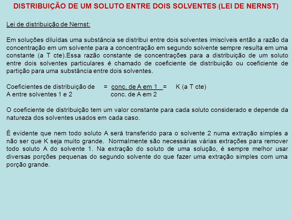DISTRIBUIÇÃO DE UM SOLUTO ENTRE DOIS SOLVENTES (LEI DE NERNST) Lei de distribuição de Nernst: Em soluções diluídas uma substância se distribui entre dois solventes imiscíveis então a razão da concentração em um solvente para a concentração em segundo solvente sempre resulta em uma constante (a T cte).Essa razão constante de concentrações para a distribuição de um soluto entre dois solventes particulares é chamado de coeficiente de distribuição ou coeficiente de partição para uma substância entre dois solventes.