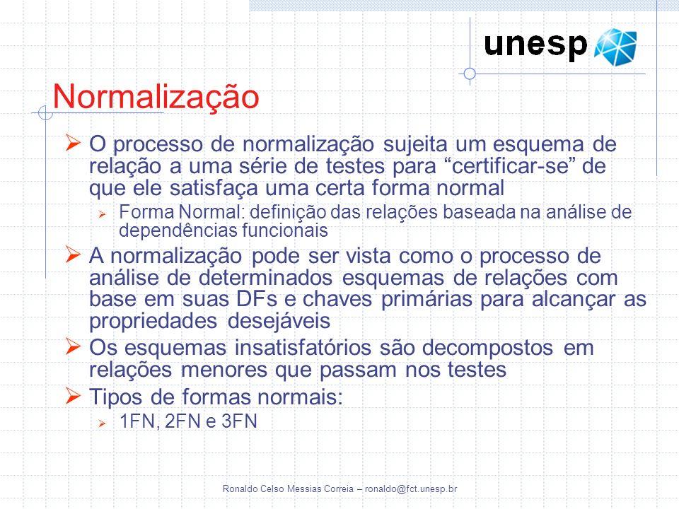 Ronaldo Celso Messias Correia – ronaldo@fct.unesp.br Normalização O processo de normalização sujeita um esquema de relação a uma série de testes para