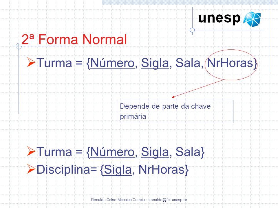 Ronaldo Celso Messias Correia – ronaldo@fct.unesp.br 2ª Forma Normal Turma = {Número, Sigla, Sala, NrHoras} Turma = {Número, Sigla, Sala} Disciplina=