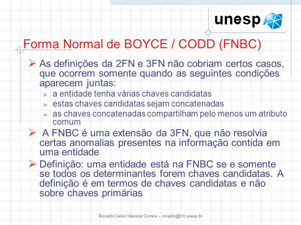 Ronaldo Celso Messias Correia – ronaldo@fct.unesp.br Forma Normal de BOYCE / CODD (FNBC) As definições da 2FN e 3FN não cobriam certos casos, que ocor