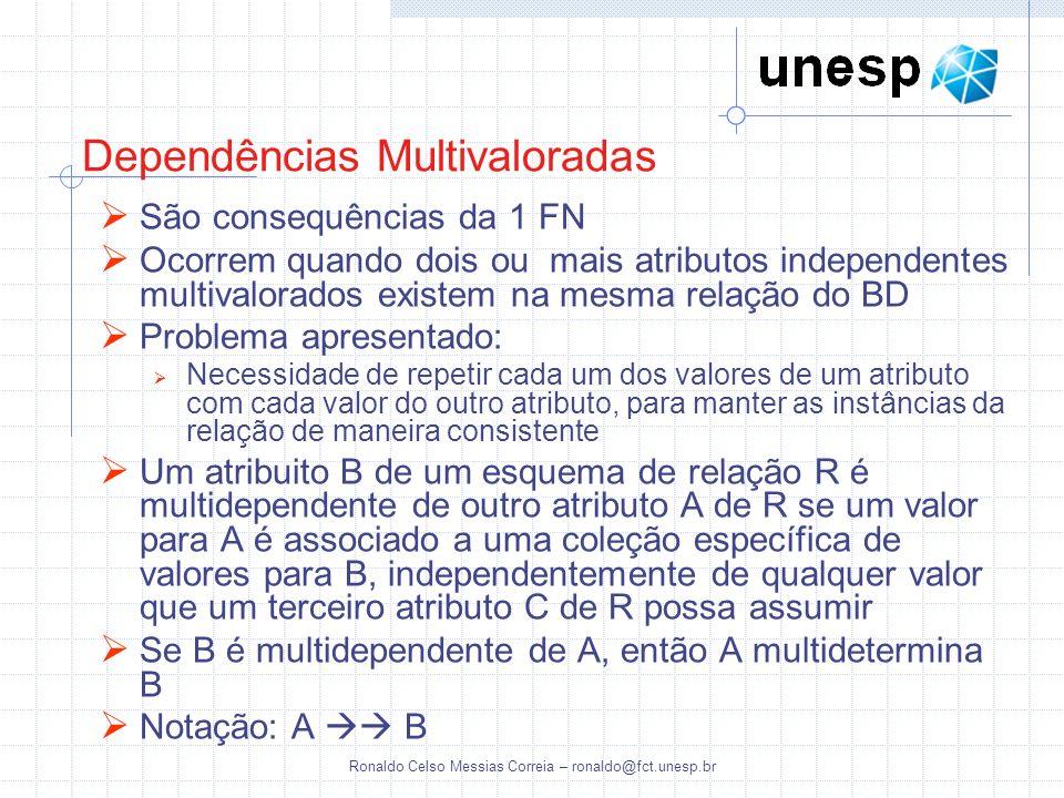 Ronaldo Celso Messias Correia – ronaldo@fct.unesp.br Dependências Multivaloradas São consequências da 1 FN Ocorrem quando dois ou mais atributos indep