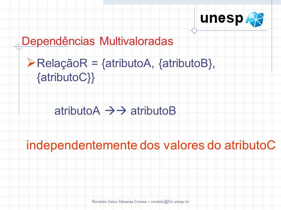 Ronaldo Celso Messias Correia – ronaldo@fct.unesp.br Dependências Multivaloradas RelaçãoR = {atributoA, {atributoB}, {atributoC}} atributoA atributoB