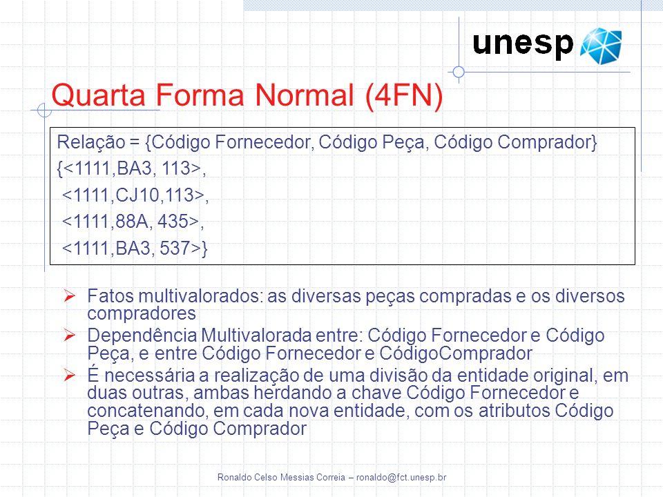 Ronaldo Celso Messias Correia – ronaldo@fct.unesp.br Quarta Forma Normal (4FN) Relação = {Código Fornecedor, Código Peça, Código Comprador} {,, } Fato