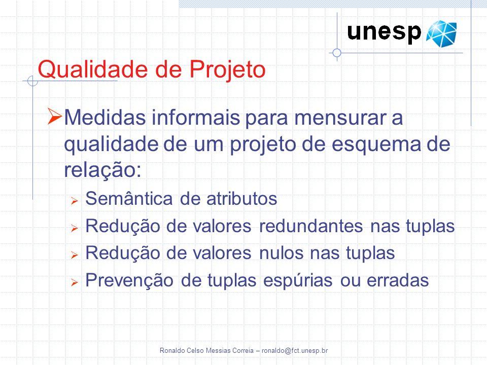 Ronaldo Celso Messias Correia – ronaldo@fct.unesp.br Qualidade de Projeto Medidas informais para mensurar a qualidade de um projeto de esquema de rela
