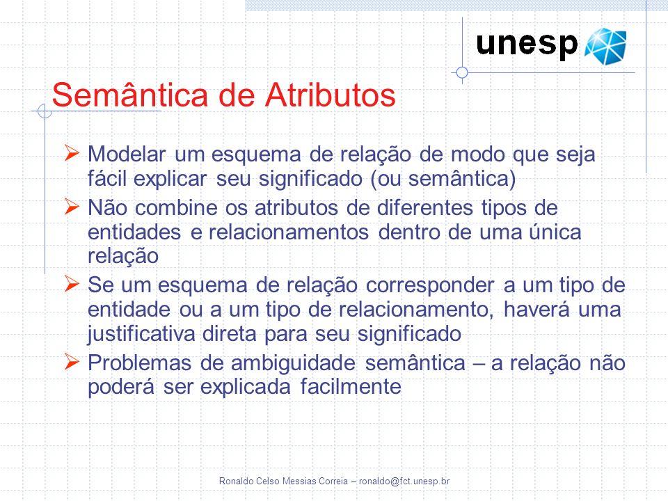 Ronaldo Celso Messias Correia – ronaldo@fct.unesp.br Semântica de Atributos Modelar um esquema de relação de modo que seja fácil explicar seu signific
