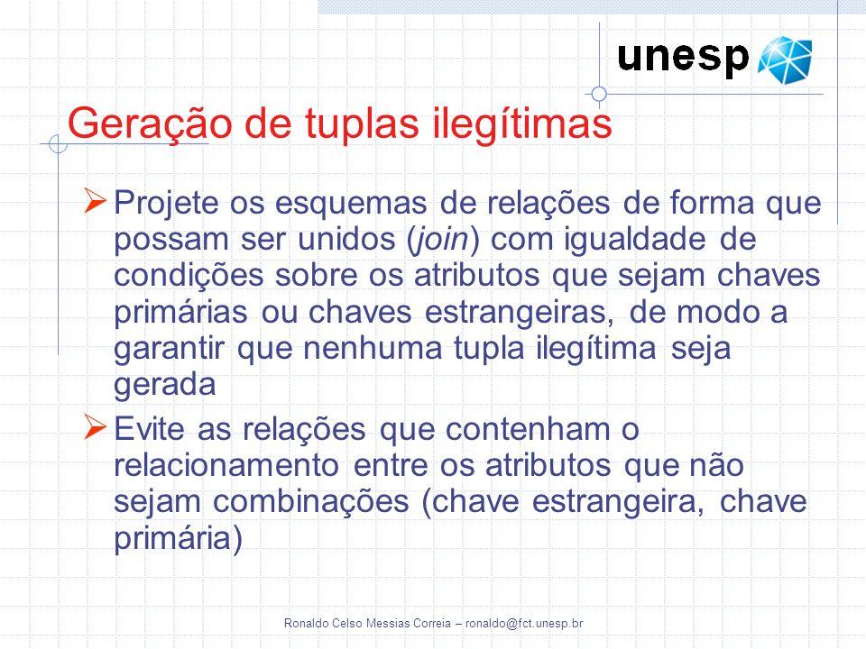 Ronaldo Celso Messias Correia – ronaldo@fct.unesp.br Geração de tuplas ilegítimas Projete os esquemas de relações de forma que possam ser unidos (join