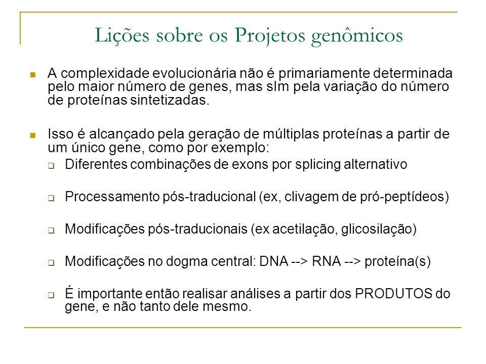 Lições sobre os Projetos genômicos A complexidade evolucionária não é primariamente determinada pelo maior número de genes, mas sIm pela variação do número de proteínas sintetizadas.
