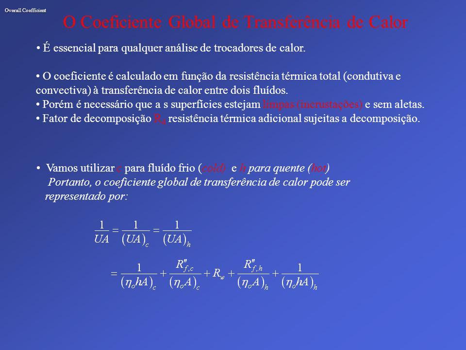 Overall Coefficient O Coeficiente Global de Transferência de Calor É essencial para qualquer análise de trocadores de calor. O coeficiente é calculado