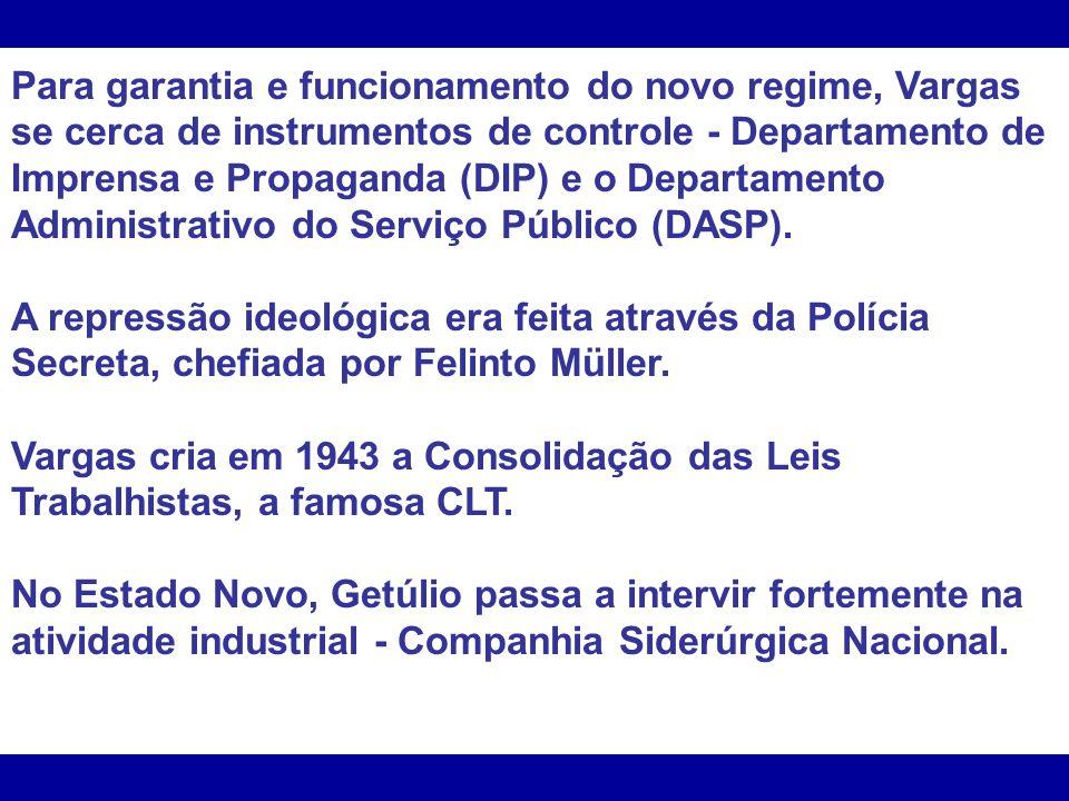 Para garantia e funcionamento do novo regime, Vargas se cerca de instrumentos de controle - Departamento de Imprensa e Propaganda (DIP) e o Departamen