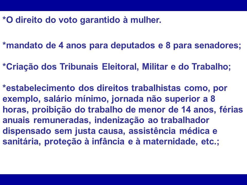 *O direito do voto garantido à mulher. *mandato de 4 anos para deputados e 8 para senadores; *Criação dos Tribunais Eleitoral, Militar e do Trabalho;